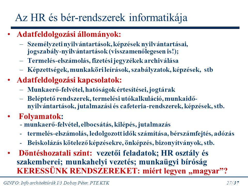 Az HR és bér-rendszerek informatikája
