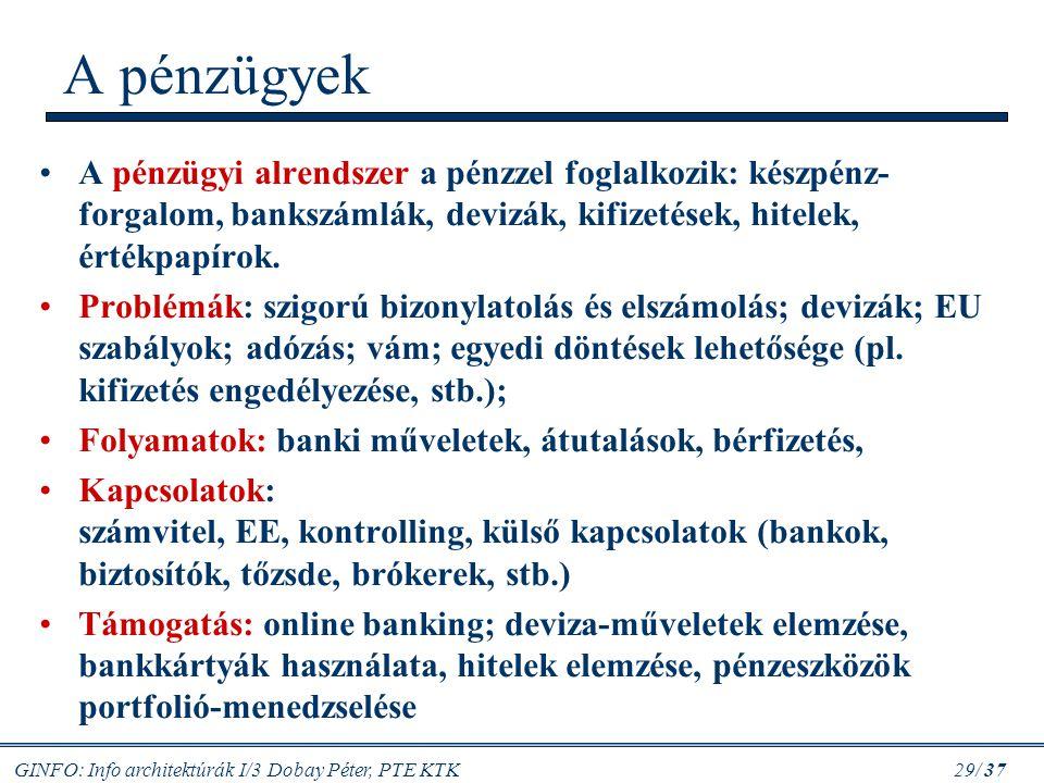 A pénzügyek A pénzügyi alrendszer a pénzzel foglalkozik: készpénz-forgalom, bankszámlák, devizák, kifizetések, hitelek, értékpapírok.