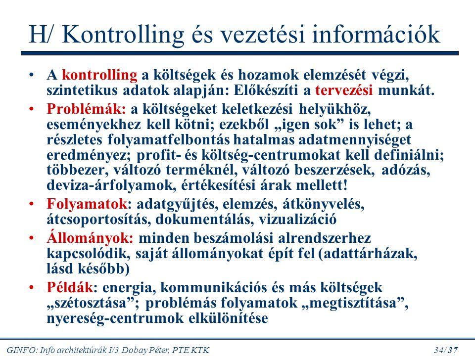 H/ Kontrolling és vezetési információk