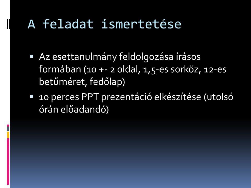 A feladat ismertetése Az esettanulmány feldolgozása írásos formában (10 +- 2 oldal, 1,5-es sorköz, 12-es betűméret, fedőlap)