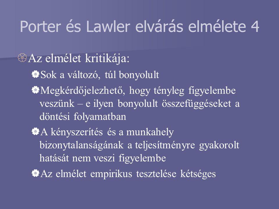 Porter és Lawler elvárás elmélete 4