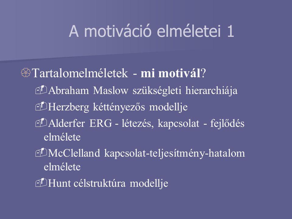 A motiváció elméletei 1 Tartalomelméletek - mi motivál
