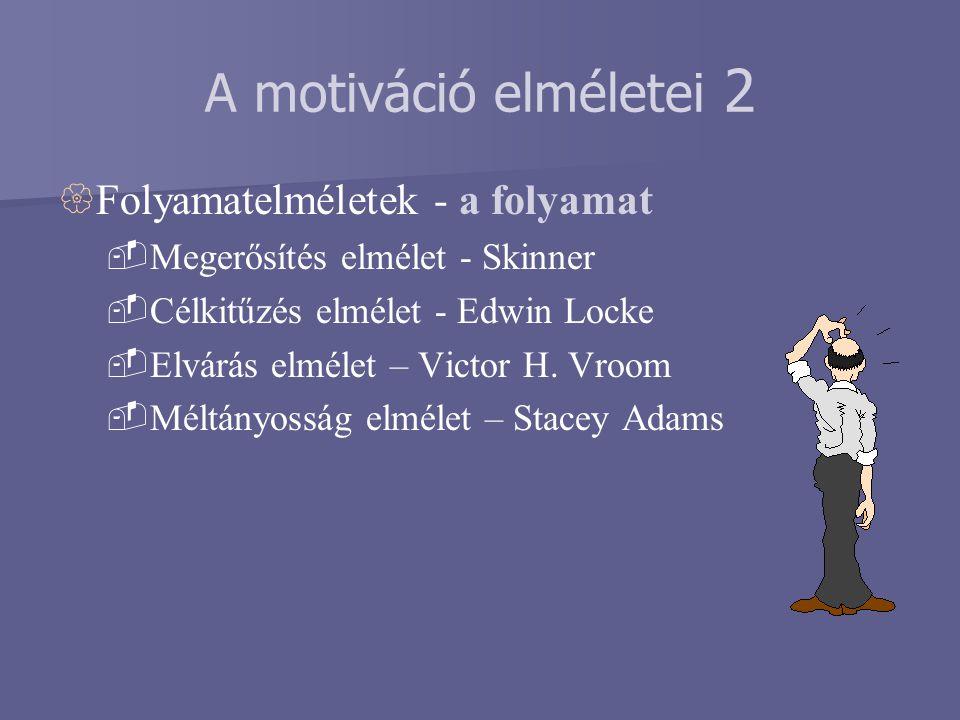 A motiváció elméletei 2 Folyamatelméletek - a folyamat