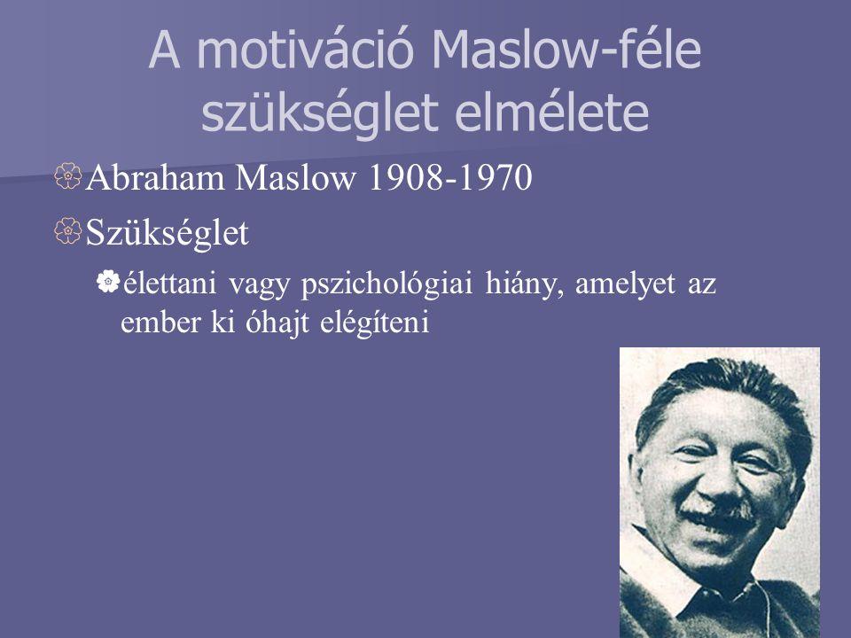 A motiváció Maslow-féle szükséglet elmélete