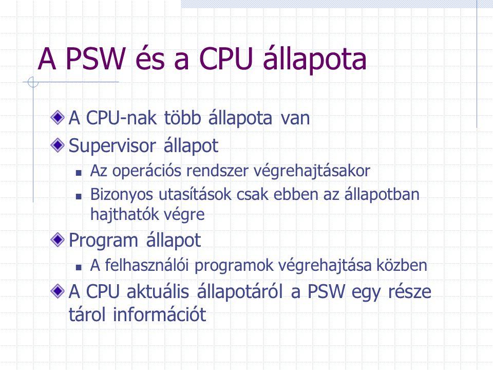 A PSW és a CPU állapota A CPU-nak több állapota van Supervisor állapot