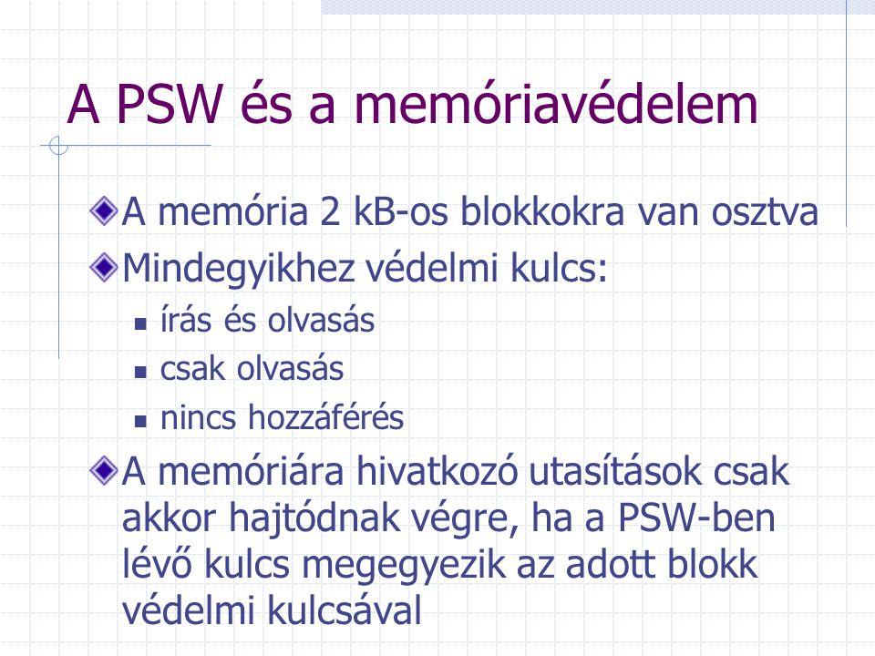 A PSW és a memóriavédelem