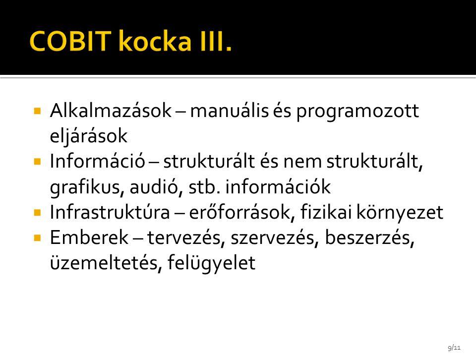 COBIT kocka III. Alkalmazások – manuális és programozott eljárások