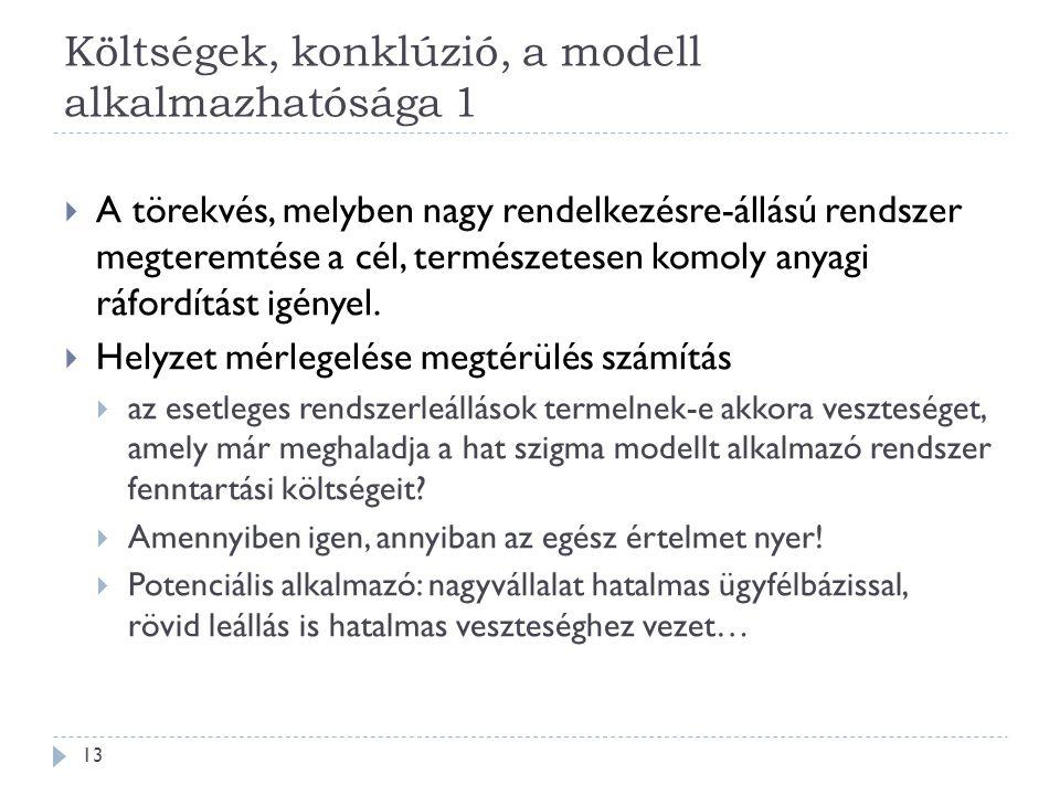 Költségek, konklúzió, a modell alkalmazhatósága 1