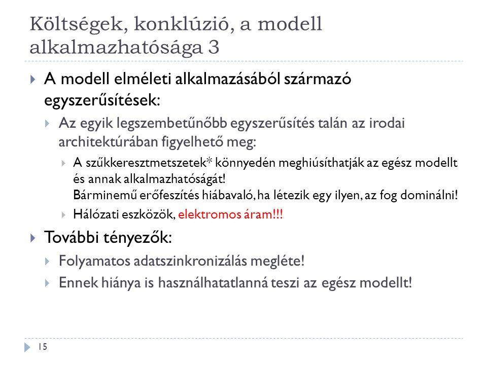 Költségek, konklúzió, a modell alkalmazhatósága 3