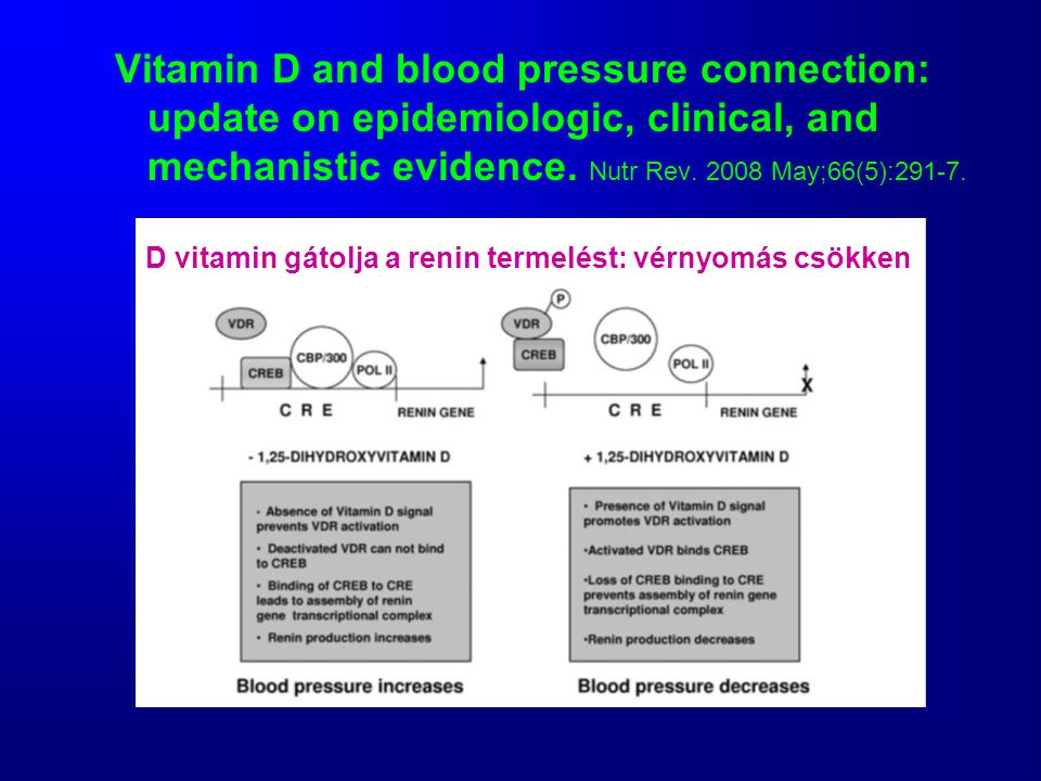 Vitamin D and blood pressure connection: update on epidemiologic, clinical, and mechanistic evidence. Nutr Rev. 2008 May;66(5):291-7.