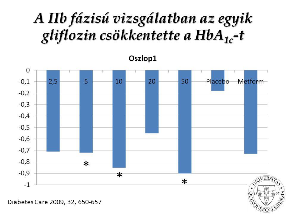 A IIb fázisú vizsgálatban az egyik gliflozin csökkentette a HbA1c-t