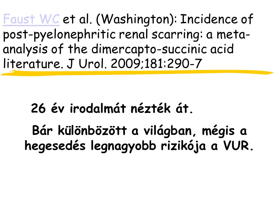 Faust WC et al. (Washington): Incidence of post-pyelonephritic renal scarring: a meta-analysis of the dimercapto-succinic acid literature. J Urol. 2009;181:290-7