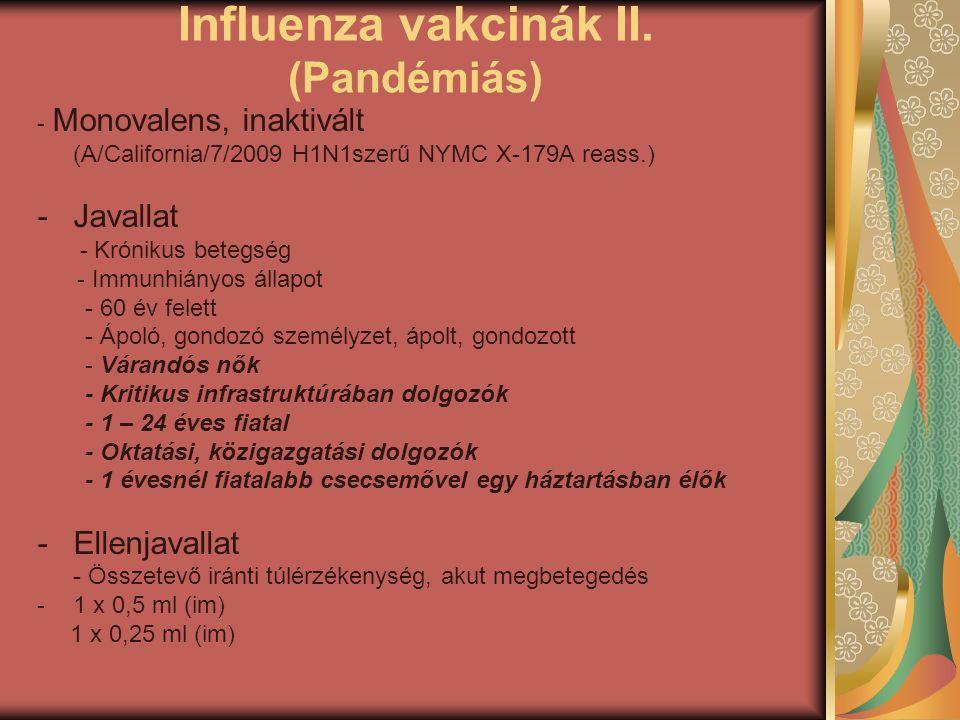 Influenza vakcinák II. (Pandémiás)