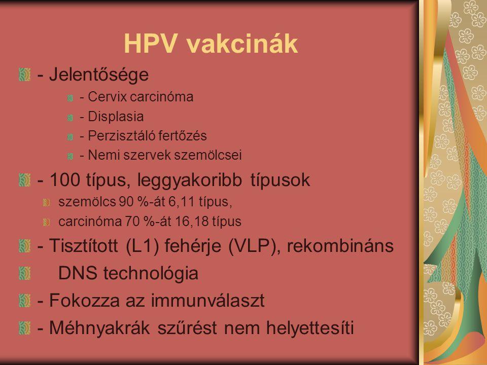 HPV vakcinák - Jelentősége - 100 típus, leggyakoribb típusok