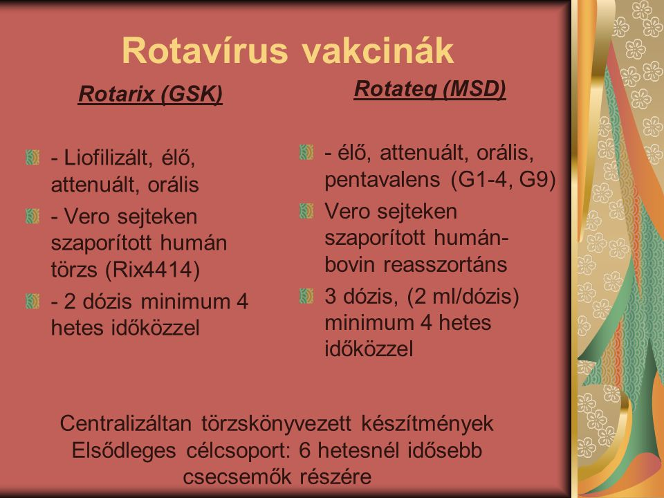 Rotavírus vakcinák Rotateq (MSD) Rotarix (GSK)