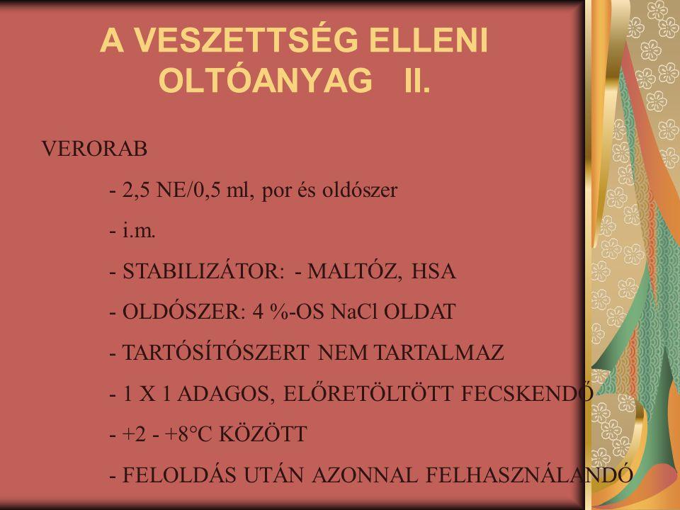 A VESZETTSÉG ELLENI OLTÓANYAG II.