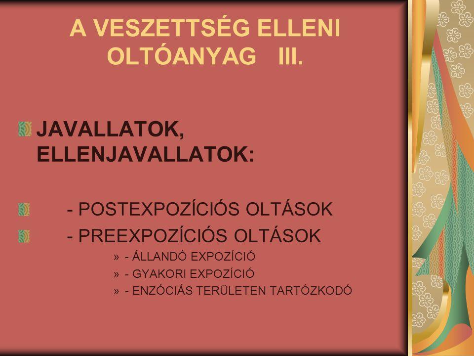 A VESZETTSÉG ELLENI OLTÓANYAG III.
