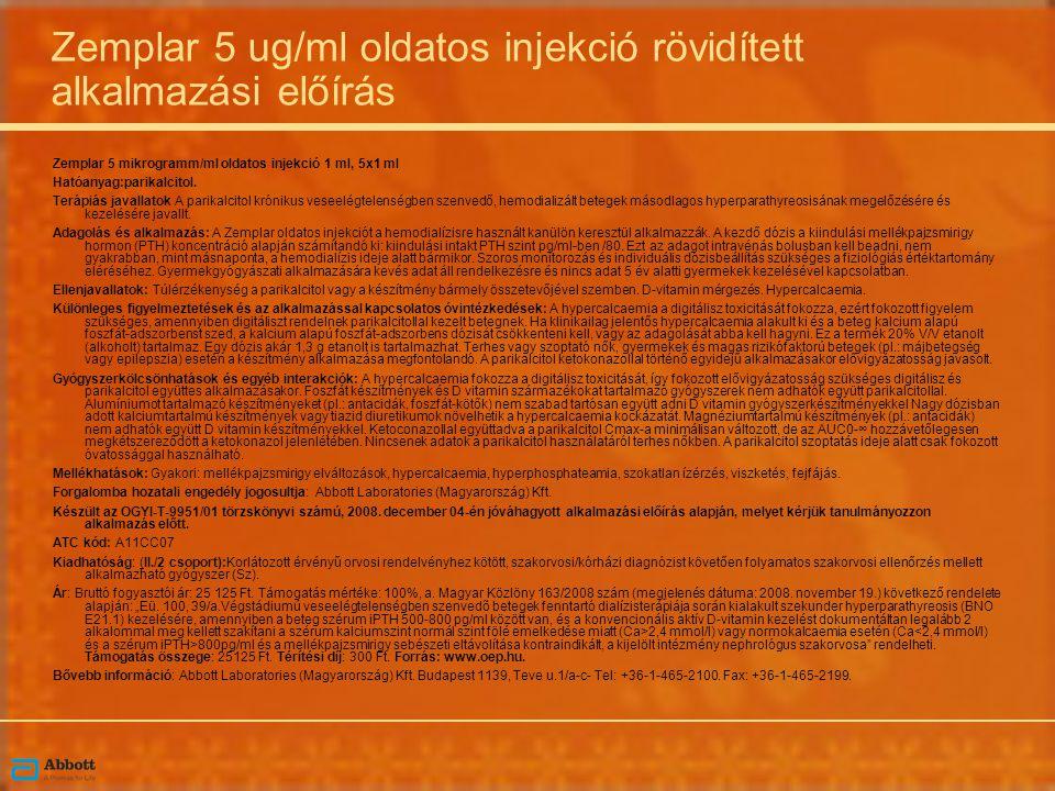 Zemplar 5 ug/ml oldatos injekció rövidített alkalmazási előírás