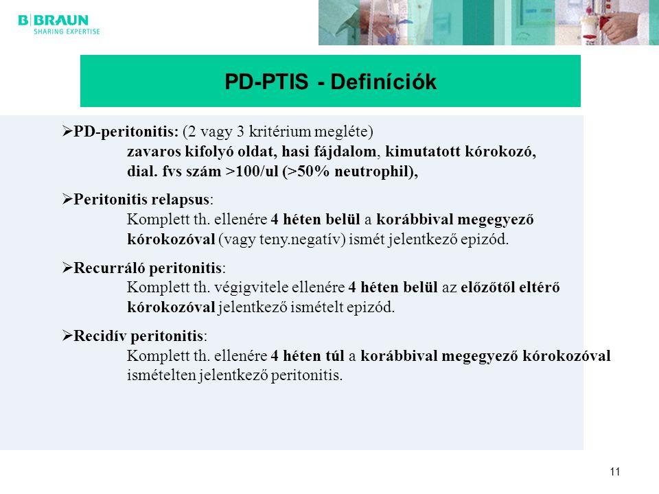 PD-PTIS - Definíciók PD-peritonitis: (2 vagy 3 kritérium megléte)