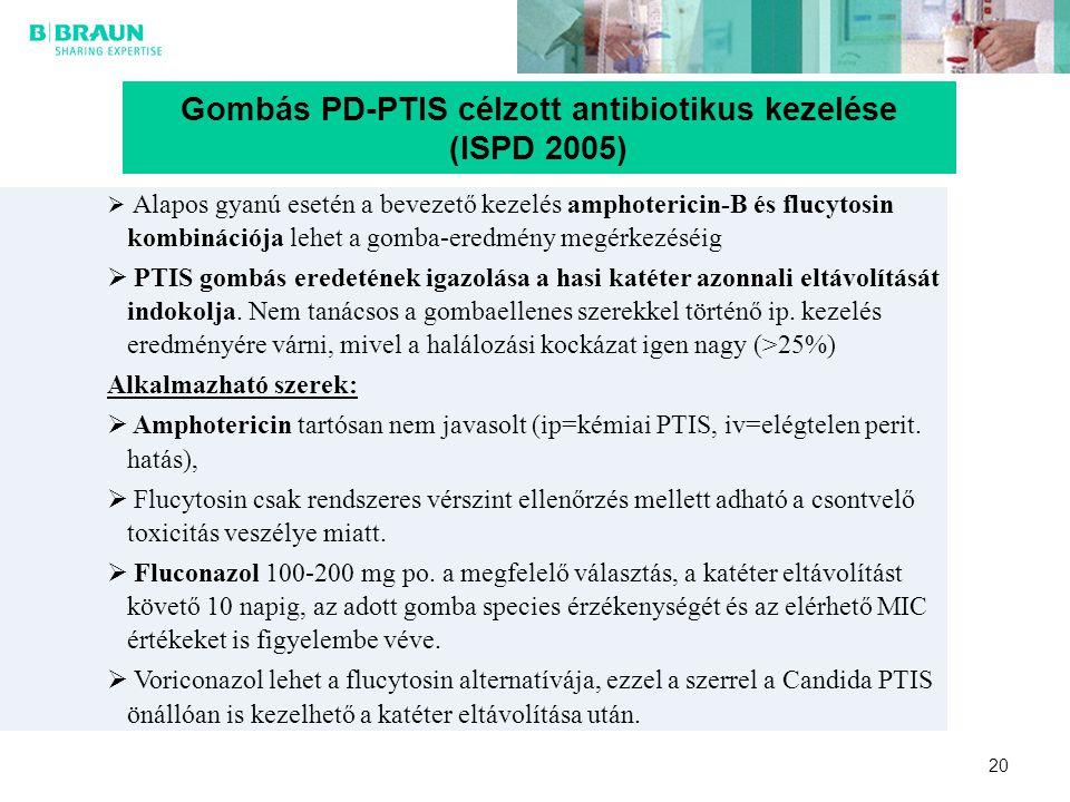 Gombás PD-PTIS célzott antibiotikus kezelése (ISPD 2005)