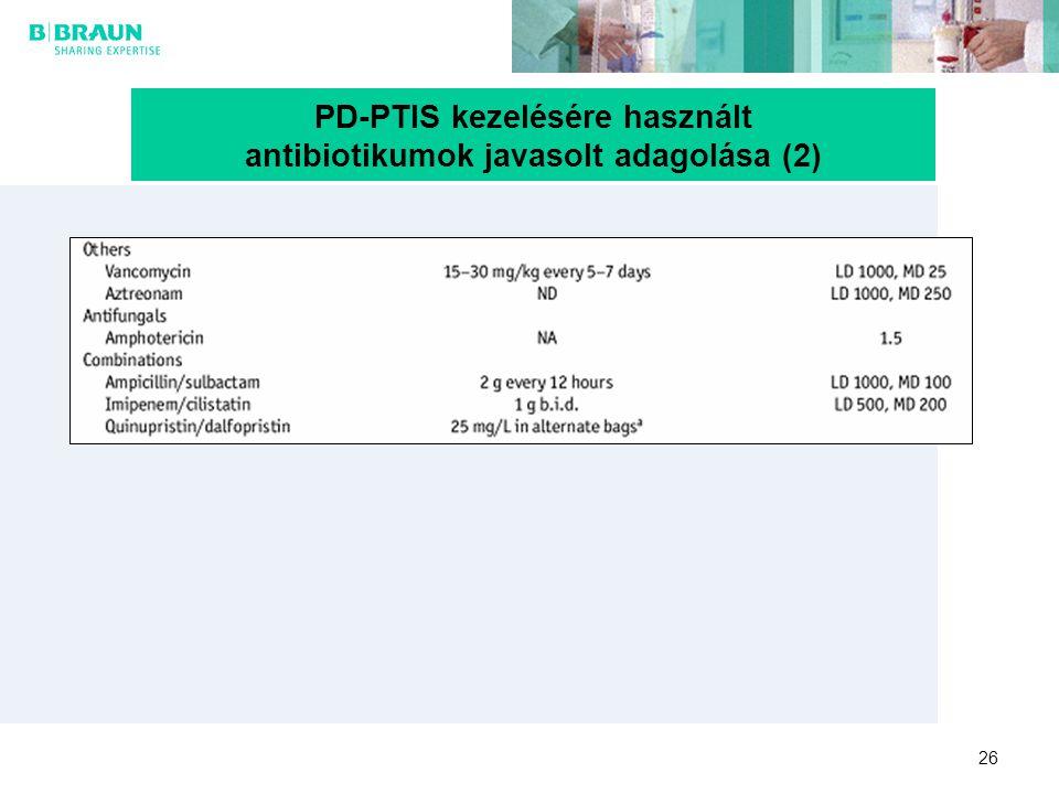PD-PTIS kezelésére használt antibiotikumok javasolt adagolása (2)