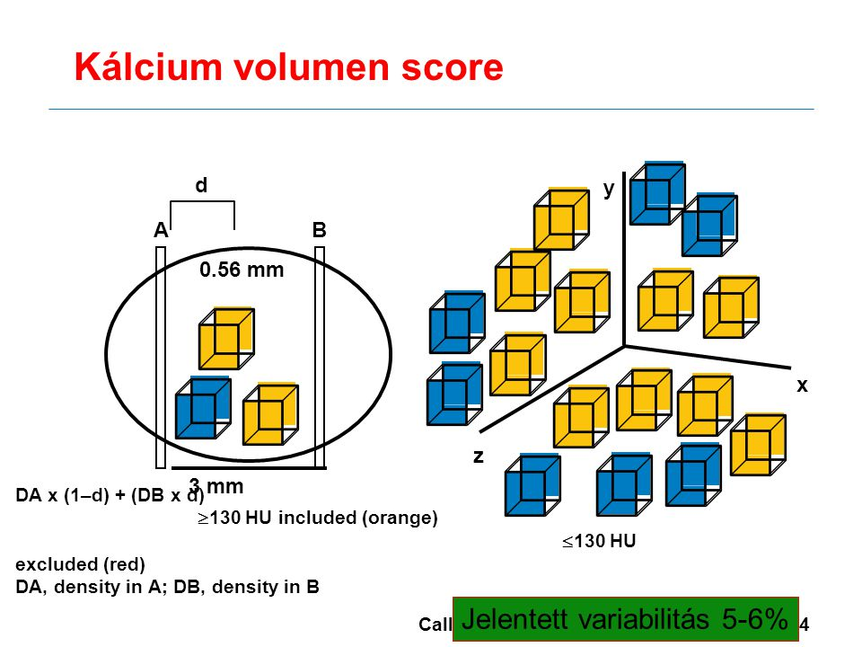 Kálcium volumen score Jelentett variabilitás 5-6% d y A B 0.56 mm x z