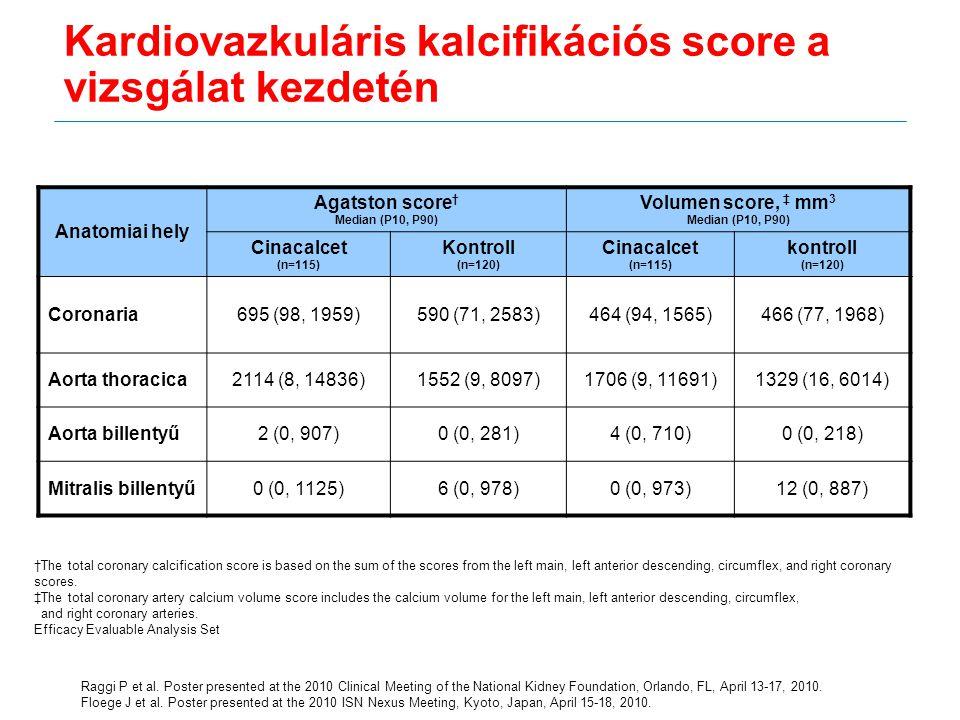 Kardiovazkuláris kalcifikációs score a vizsgálat kezdetén