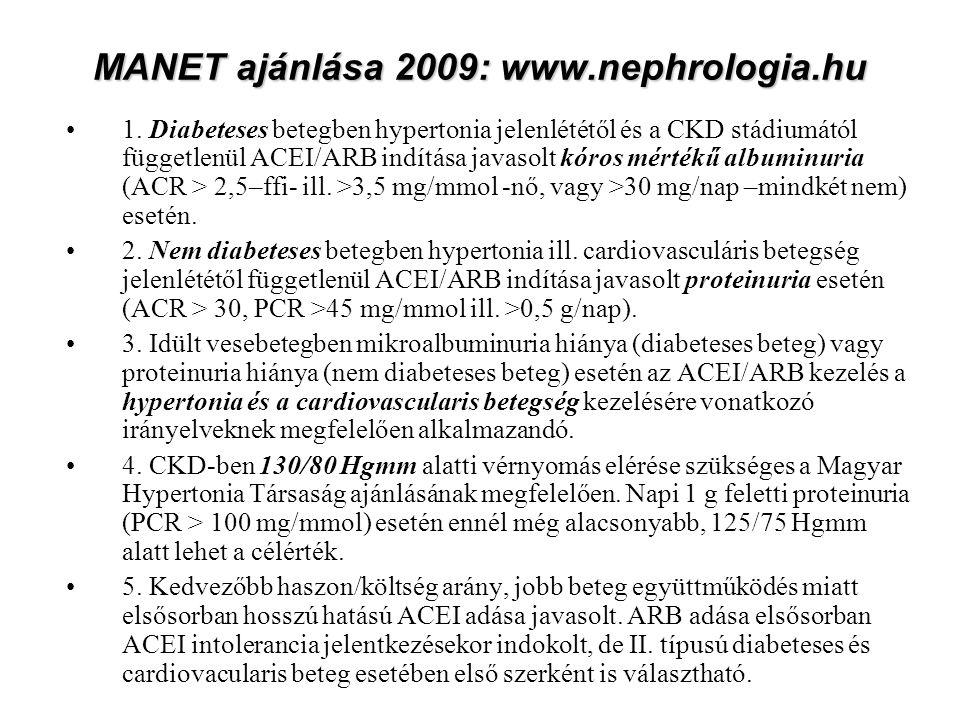 MANET ajánlása 2009: www.nephrologia.hu