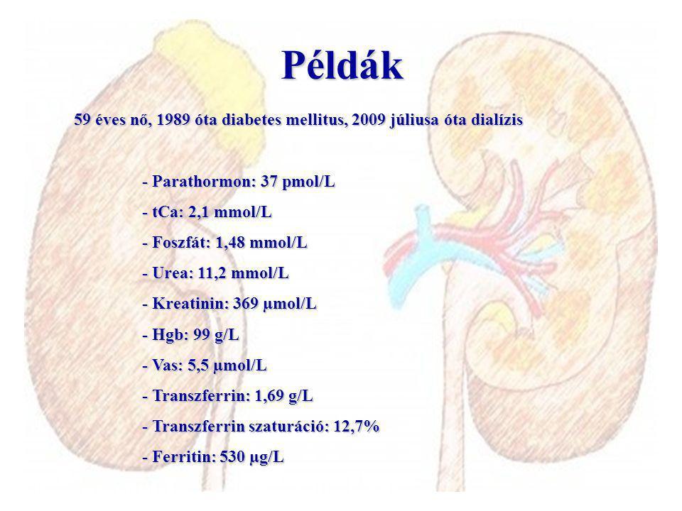 Példák 59 éves nő, 1989 óta diabetes mellitus, 2009 júliusa óta dialízis. - Parathormon: 37 pmol/L.