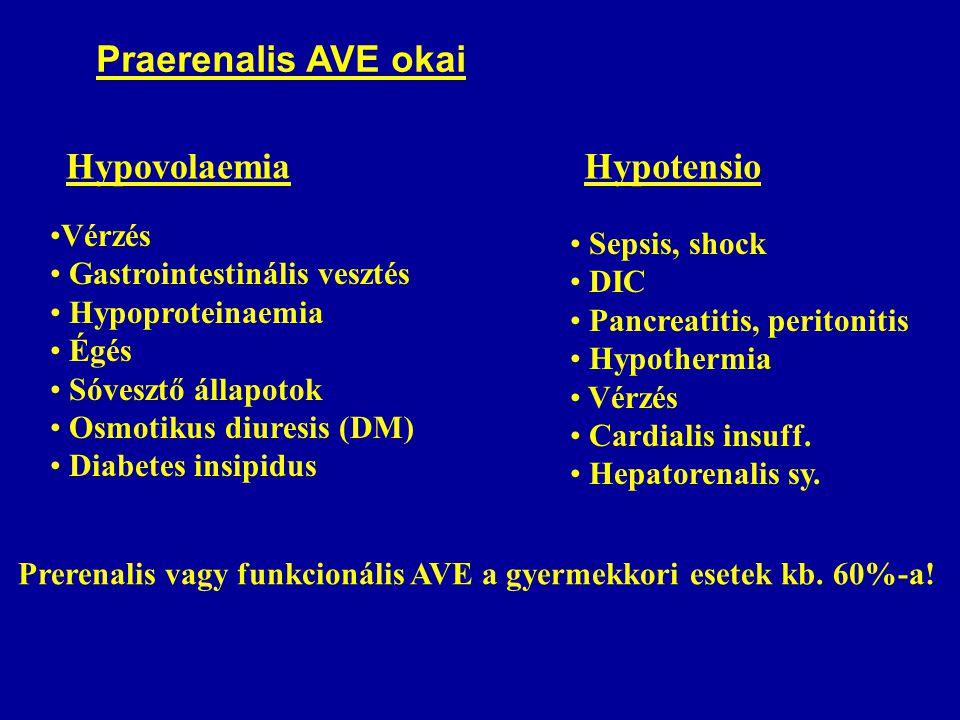 Praerenalis AVE okai Hypovolaemia Hypotensio Vérzés Sepsis, shock