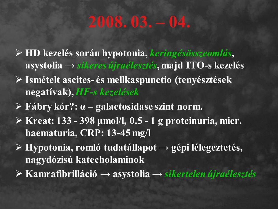 2008. 03. – 04. HD kezelés során hypotonia, keringésösszeomlás, asystolia → sikeres újraélesztés, majd ITO-s kezelés.