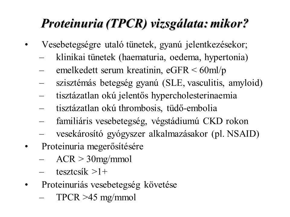 Proteinuria (TPCR) vizsgálata: mikor