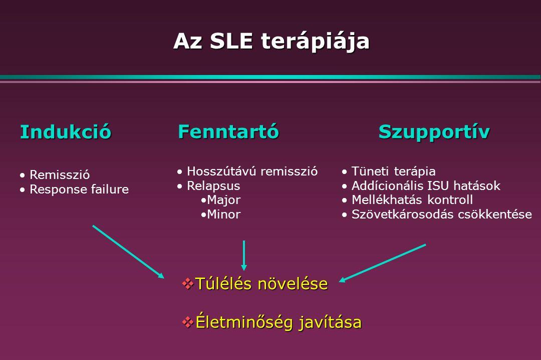 Az SLE terápiája Indukció Fenntartó Szupportív Túlélés növelése