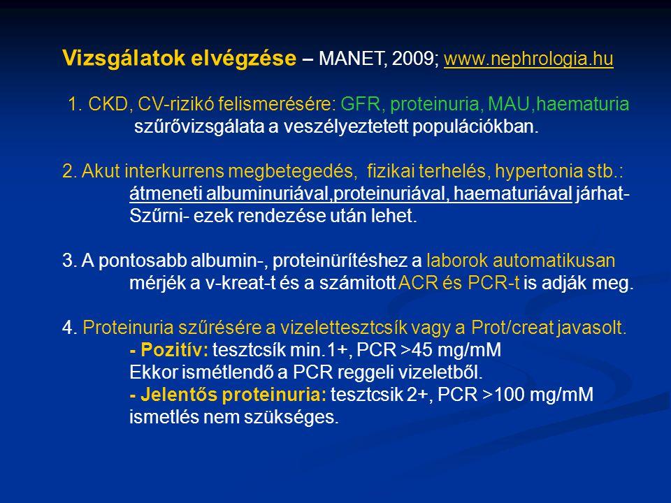 Vizsgálatok elvégzése – MANET, 2009; www.nephrologia.hu