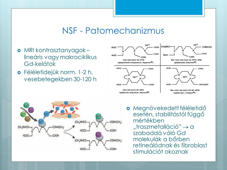 NSF - Patomechanizmus MRI kontrasztanyagok – lineáris vagy makrociklikus Gd-kelátok. Féléletidejük norm. 1-2 h, vesebetegekben 30-120 h.