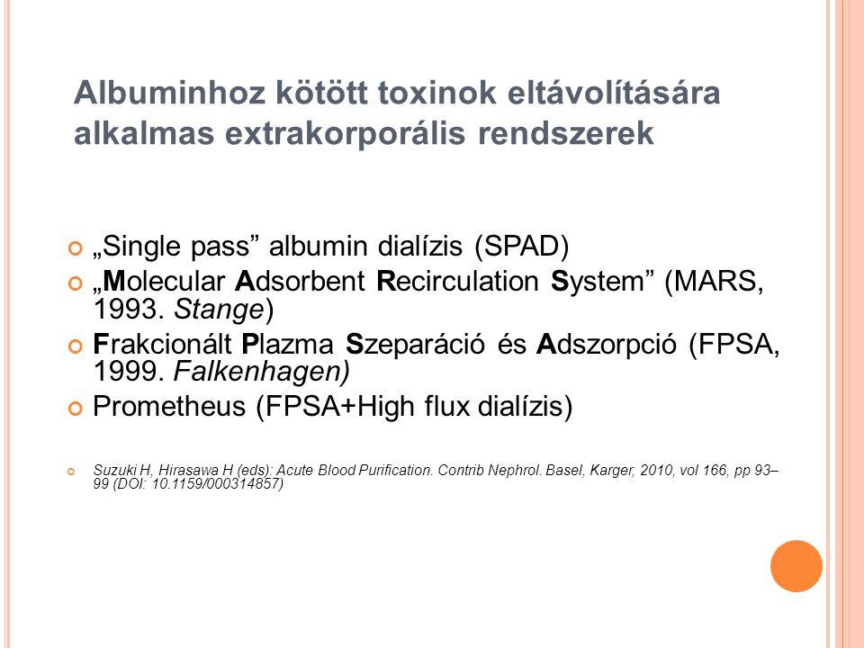Albuminhoz kötött toxinok eltávolítására alkalmas extrakorporális rendszerek