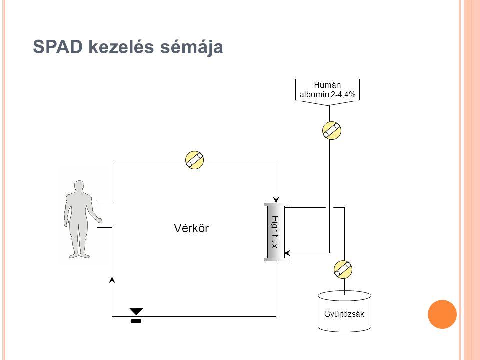 SPAD kezelés sémája Humán albumin 2-4,4% High flux Vérkör Gyűjtőzsák