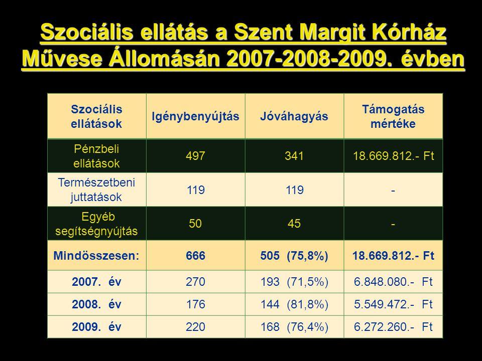 Szociális ellátás a Szent Margit Kórház Művese Állomásán 2007-2008-2009. évben