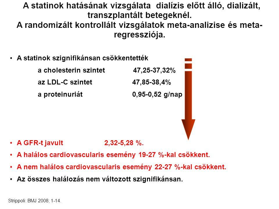 A statinok hatásának vizsgálata dialízis előtt álló, dializált, transzplantált betegeknél.