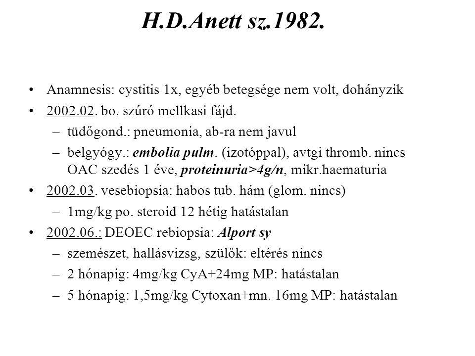 H.D.Anett sz.1982. Anamnesis: cystitis 1x, egyéb betegsége nem volt, dohányzik. 2002.02. bo. szúró mellkasi fájd.