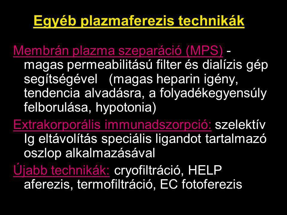 Egyéb plazmaferezis technikák
