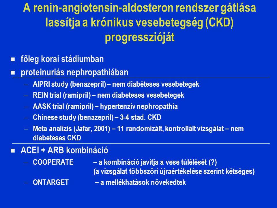 A renin-angiotensin-aldosteron rendszer gátlása lassítja a krónikus vesebetegség (CKD) progresszióját