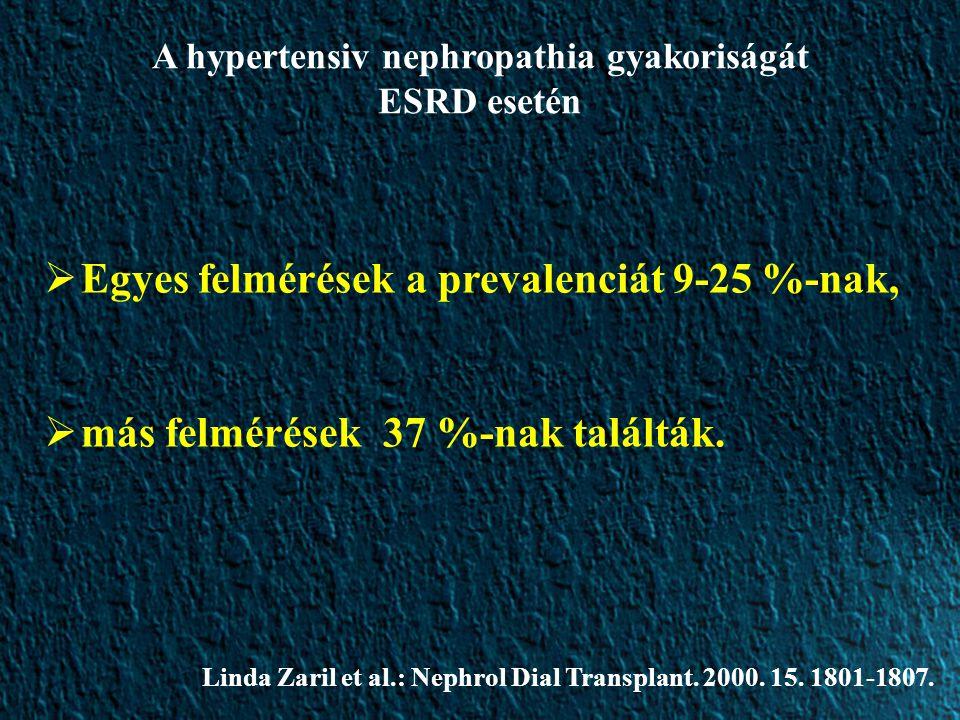 A hypertensiv nephropathia gyakoriságát ESRD esetén