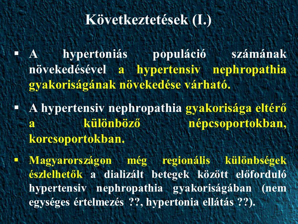 Következtetések (I.) A hypertoniás populáció számának növekedésével a hypertensiv nephropathia gyakoriságának növekedése várható.