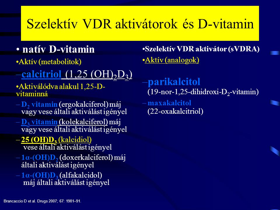 Szelektív VDR aktivátorok és D-vitamin