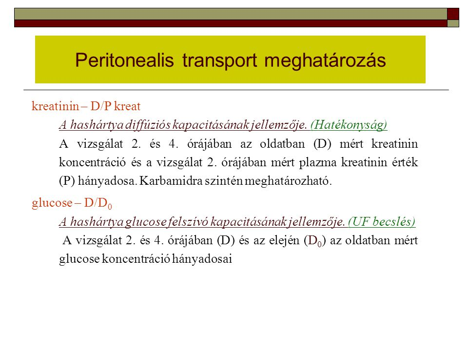 Peritonealis transport meghatározás
