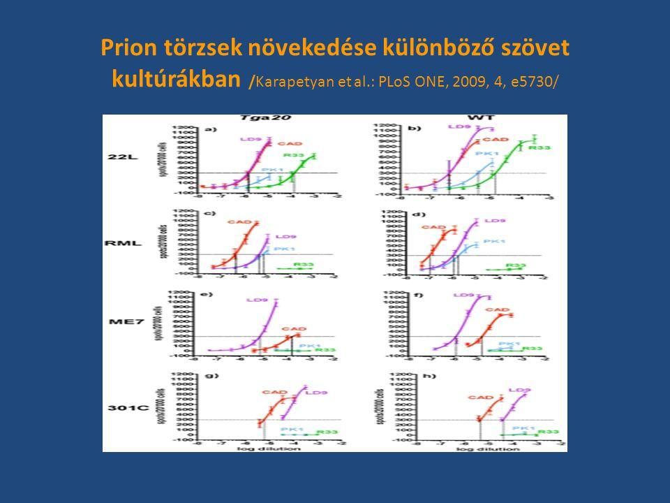 Prion törzsek növekedése különböző szövet kultúrákban /Karapetyan et al.: PLoS ONE, 2009, 4, e5730/