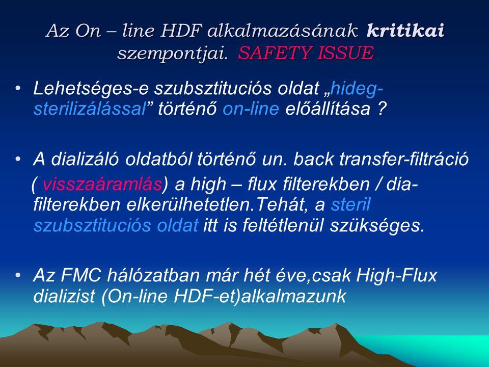 Az On – line HDF alkalmazásának kritikai szempontjai. SAFETY ISSUE