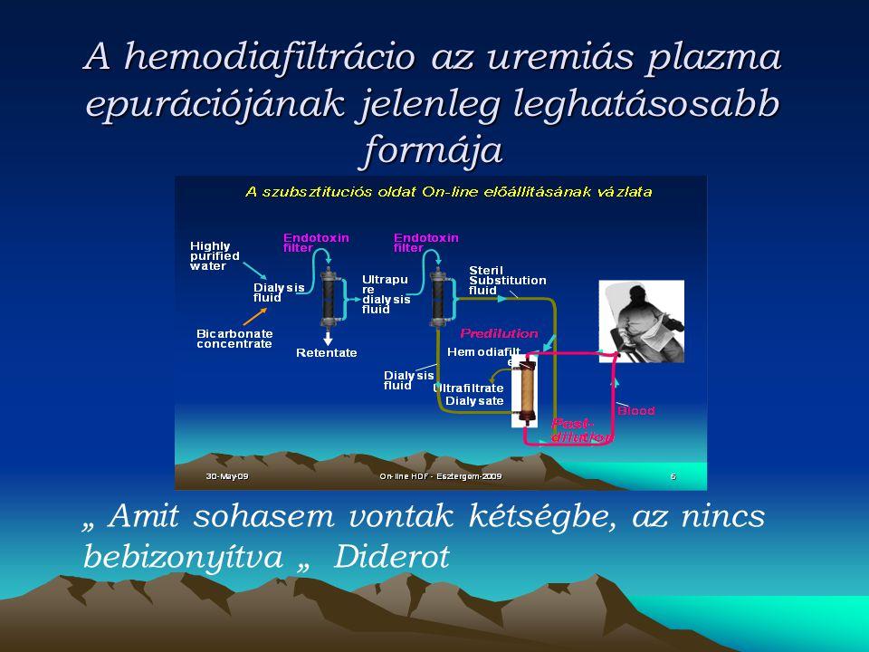 A hemodiafiltrácio az uremiás plazma epurációjának jelenleg leghatásosabb formája