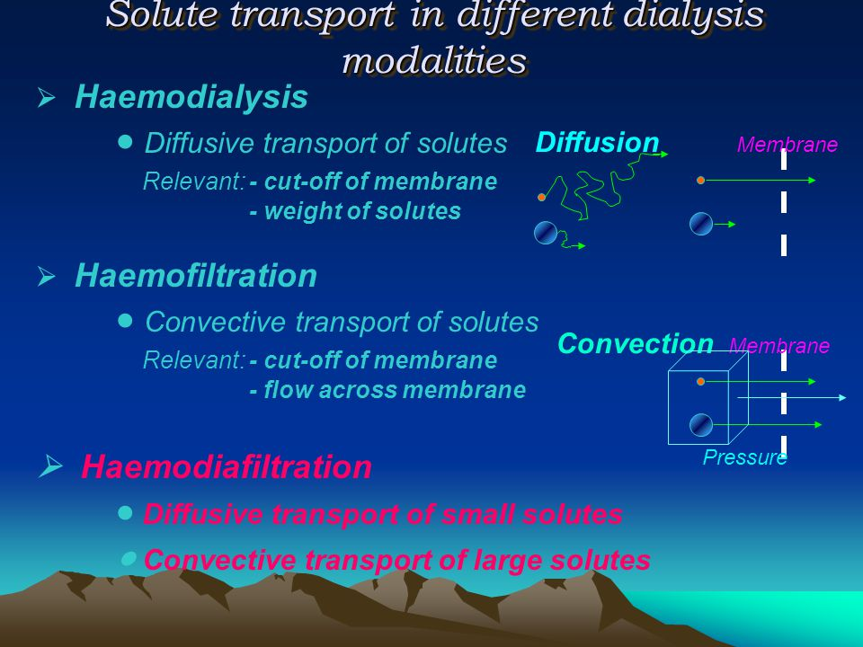 Solute transport in different dialysis modalities